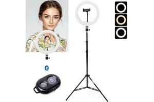 Кольцевая Led лампа Fill Lights CXB-260 селфи-лампа диаметром 26 см с держателем телефона и пультом Черный+ Штатив 2м...