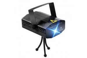 Лазерный проектор, стробоскоп, диско лазер HJ08 4 в 1 UKC Лазерная установка цветомузыки с треногой Black (46814-IM)