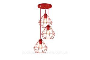 """Подвесной металлический светильник, современный стиль  """"CLASSIC-3GR"""" Е27  красный цвет"""