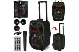Портативная колонка-чемодан на колесах с ручкой, с Bluetooth, микрофоном, пультом, на аккумуляторе PK-09L