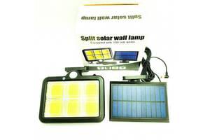 Уличный COB светильник прожектор на солнечной батарее фонарь с датчиком движения и аккумулятором 2400mAh Split solar...
