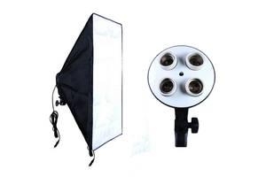 Відео софтбокс 50х70 постійне студійне світло з 4 патронами Е27