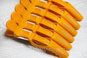 """Зажимы парикмахерские для волос с фиксатором """"Tony/Guy"""" 6шт.:Оранжевый"""