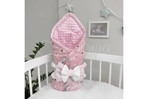 Плед Minky Единорог на розовом розовый