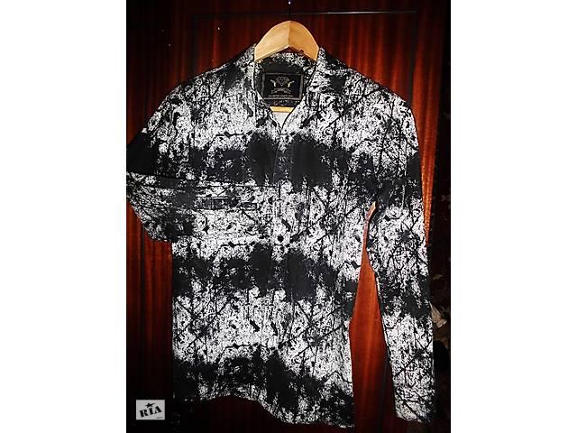 Рубашка D-XEL Германия черно-белая стрейчевая