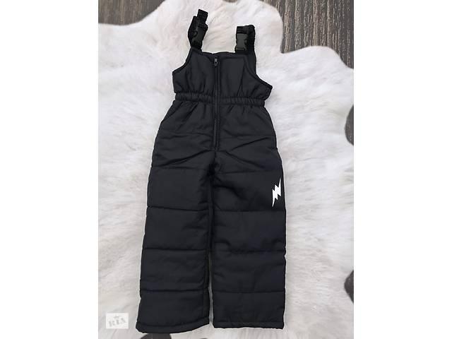 бу Зимние штанишки-полукомбинезон со светоотражательным рисунком Черные в Одессе