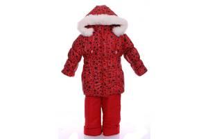 Зимний костюм для девочки Классика с рисунком красный в звездочку