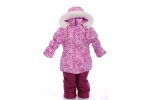 Зимний костюм для девочки Классика с рисунком розовый с цветами