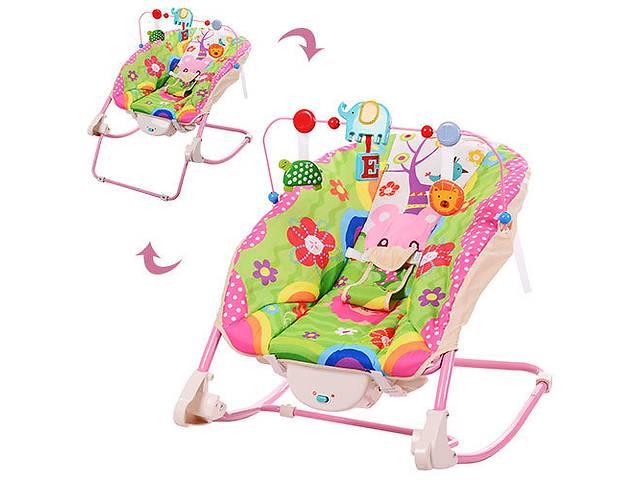 Bambi 68127 шезлонг качалка детский розовый с вибрацией- объявление о продаже  в Одессе
