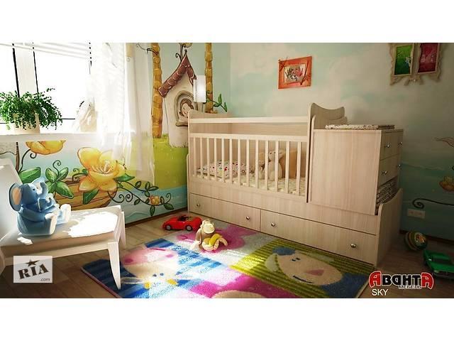 купить бу Детская кровать трансформер Аванта SKY (детская кровать + кровать для новорожденных + столик + ящик) в Киеве