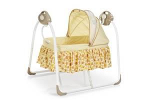 Детская кроватка 80308-13: люлька-качалка, музыка, адаптер, 6 скоростей - бежевая