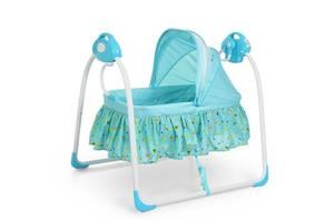 Детская кроватка 80308-4: люлька-качалка, музыка, адаптер, 6 скоростей, синяя