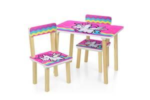 Детский стол с двумя стульчиками Bambi 501-64 Малиновый единорог