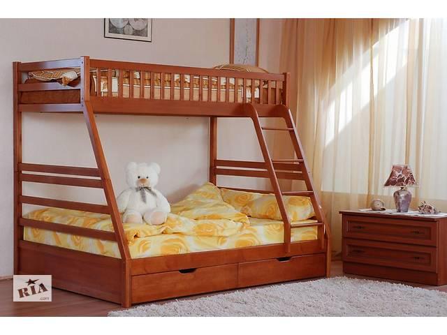 продам Кровать двухъярусная трехместная трехспальная семейного типа Юлия детская деревянная с ящиками в наличии! бу в Киеве