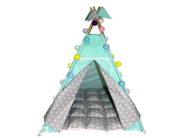купить бу Вигвам Хатка комплект Звезды с мягким ковриком Мятный с серым в Одессе
