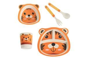 Детская бамбуковая посуда Тигренок, набор из 2-х тарелок, чашки, ложки и вилки BP20 Tiger SKL25-149776