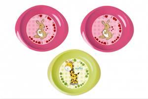 Набор детской посуды Nuvita тарелочки 6м+ 3шт. мелкие розовые и салатовая (NV1428Pink)