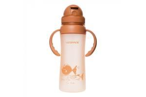 Бутылочка - поильник детская с трубочкой и ручками UZspace 3041 350 мл Бежевый (gr_012045)