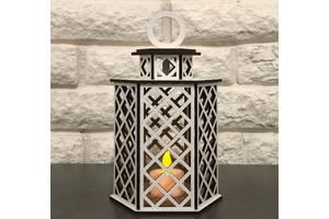 Декоративный фонарь GS Деревянный ночник светильник с LED свечкой (9763956GS)