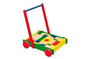 """Деревянные детские ходунки-каталка с кубиками Viga Toys """"Тележка с кубиками"""", Подарки для маленьких детей"""
