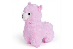 Детская гламурная игрушка плюшевая Альпака Fancy, розовая, 29 см