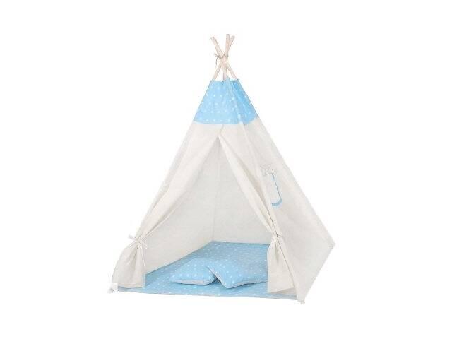 бу Детская палатка вигвам Springos Tipi Xxl White/Sky Blue SKL41-277682 в Киеве