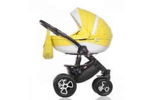 Детская универсальная коляска Broco Eco 2 в 1, желто-белая (7088)