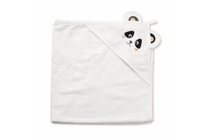 """Детское махровое полотенце-уголок с капюшоном для новорожденных Twins """"Панда"""" после купание, 100x100, белый"""
