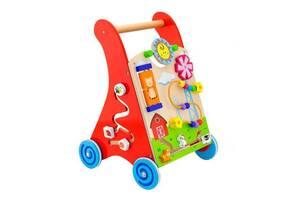 Детские деревянные ходунки-каталка с игровым центром Viga Toys, 34 х 32 х 45,5 см. Подарок ребенку на 1 год