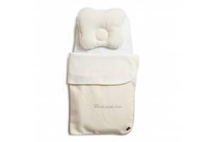 Детский комплект в коляску Twins Waffle autumnплед 80х60 см, подушка, простынь, бежевый.Подарок для грудничка