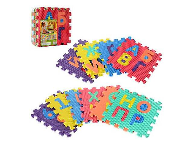 бу Детский мягкий коврик-пазл Bambi Украинский алфавит, 10 деталей, разноцветные в Киеве