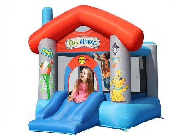купить бу Дитячий надувний ігровий центр батут Happy Hop Fun House з насосом Різнобарвний (bat_9215) в Одесі