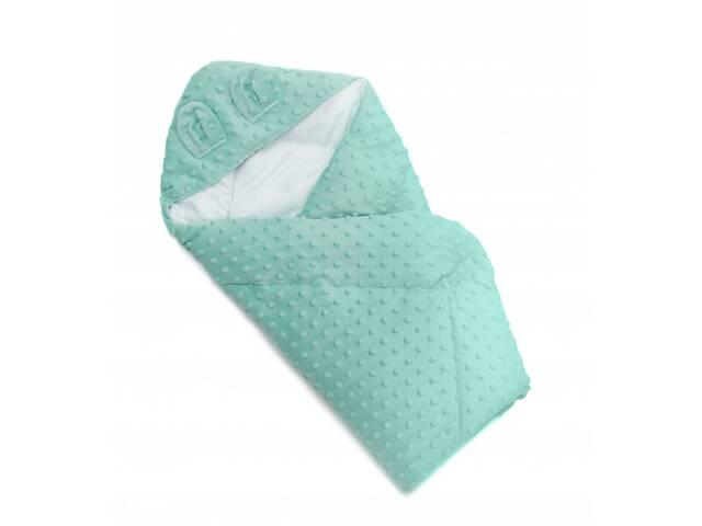 продам Детский плед - конверт в кроватку силиконовый Twins Minky Ушки 80х80 см., мятный бу в Києві