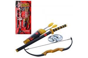 Детский игровой набор Ниндзя ACtoys меч, лук, стрелы-присоски 3шт, сюрикены 2шт, (709146-RT)