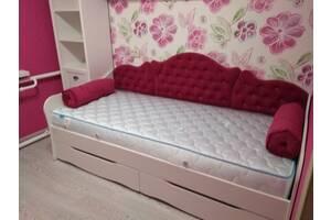Детская комната для девочки, кровать с мягкой спинкой. Выбор элементов мебели и цвета ткани. доставка бесплатно