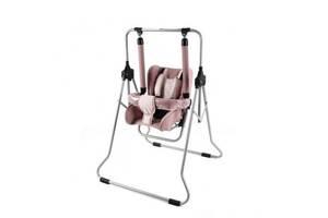 Качель для детей для дома с ремнями безопасности Adbor N1 02, розовая. Подарок новорожденной девочке