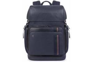 Кожаный городской рюкзак Piquadro синий 23 л