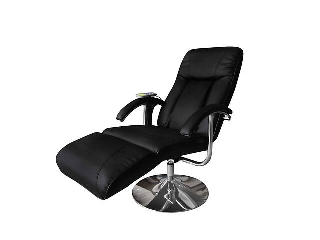 бу Кресло массажное с подставкой vidaXL 240064 эко-кожа черный в Львове