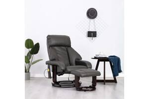 Кресло массажное с пуфиком для ног эко-кожа 248680 серый