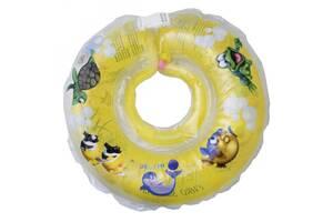 Круг надувной детский для купания новорожденных Tega Baby Дельфин 0-36, желтый