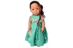 Кукла обучающая путешественница в бирюзовом платье 38 см. Подарок для девочки 3 лет