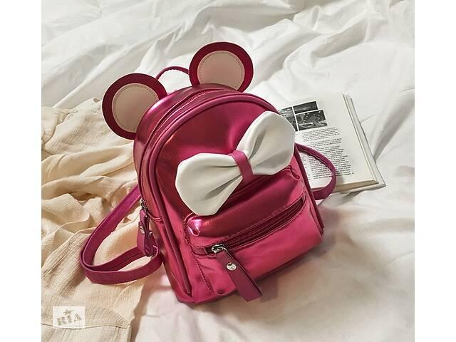 купить бу Маленький детский рюкзак Микки Маус с ушками и бантиком, мини рюкзачок для девочек блестящий с ушами Малиновый в Днепре (Днепропетровск)
