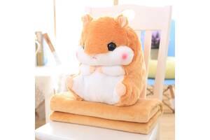 Мягкая игрушка Хомяк 3 в 1 с пледом BabySweet 40 см Orange (5656f-FL)