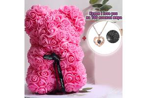 Мишка из красных роз 25 см в подарочной коробке 3D Teddy Flower Оригинальный подарок девушке в подарочной упаковке Ро...