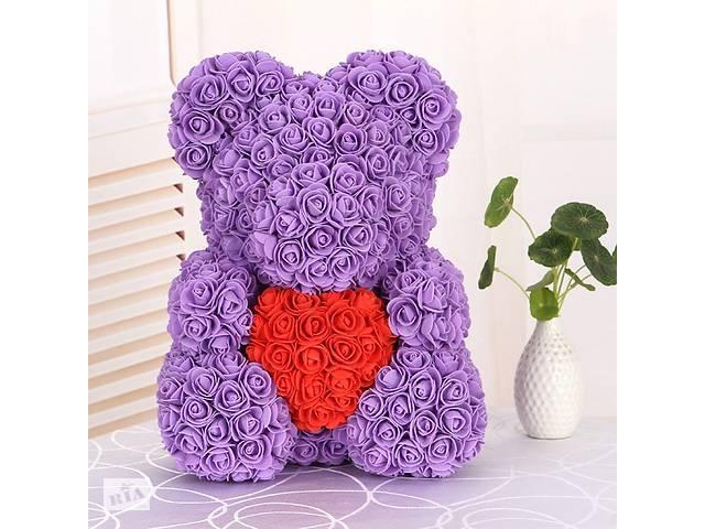 Мишка из роз с сердцем 40 см в подарочной коробке 3D Teddy Flower Оригинальный подарок девушке в подарочной упаковке...