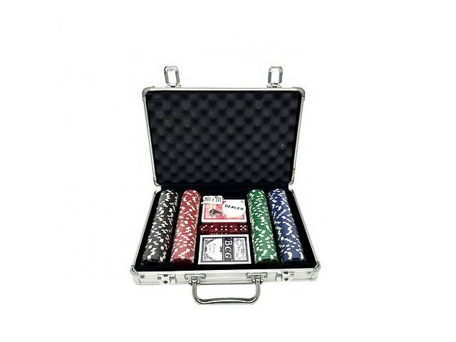 бу Набір для гри в покер в алюмінієвому кейсі 200 фішок дві колоди карт Kronos Toys TEXAS HOLDEM (spr_11019) в Києві