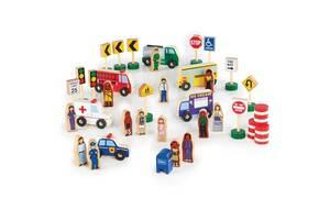 Набор фигурок и машин Guidecraft Block Play к Дороге из дерева, 36 деталей (G6717)