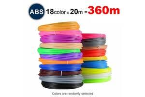 Набор пластика ABS для 3D ручек 360 метров (18 цветов по 20 метров)