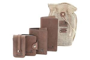 Оригинальный набор из кожаных аксессуаров SHVIGEL 10074, Коричневый
