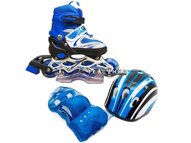 купить бу Ролики раздвижные SkateX Combo Kit Led 28-33 с комплектом защиты Синий в Киеве